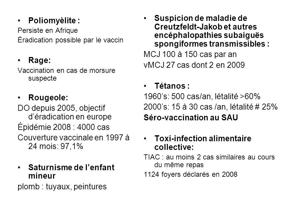 Poliomyèlite : Persiste en Afrique Éradication possible par le vaccin Rage: Vaccination en cas de morsure suspecte Rougeole: DO depuis 2005, objectif