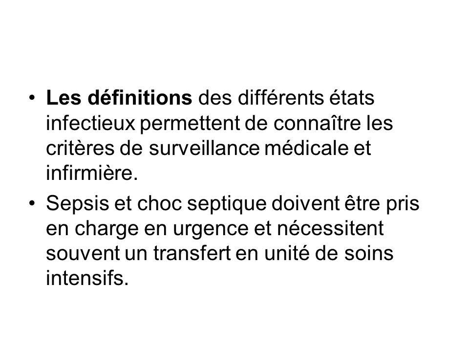 Les définitions des différents états infectieux permettent de connaître les critères de surveillance médicale et infirmière. Sepsis et choc septique d