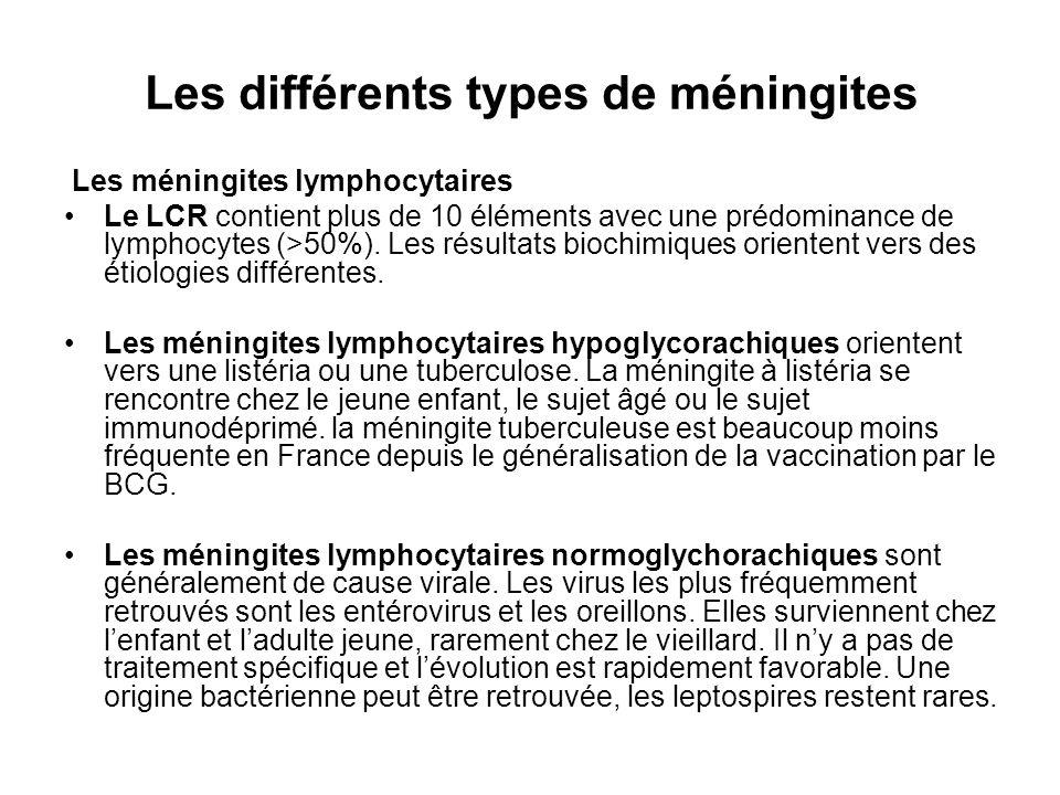 Les différents types de méningites Les méningites lymphocytaires Le LCR contient plus de 10 éléments avec une prédominance de lymphocytes (>50%). Les
