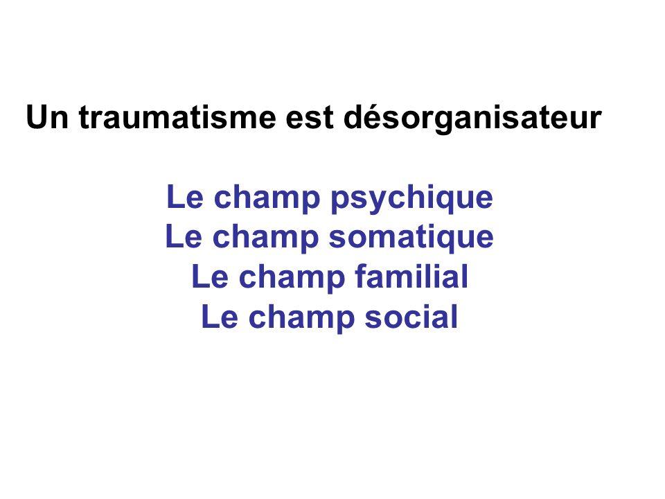 Un traumatisme est désorganisateur Le champ psychique Le champ somatique Le champ familial Le champ social