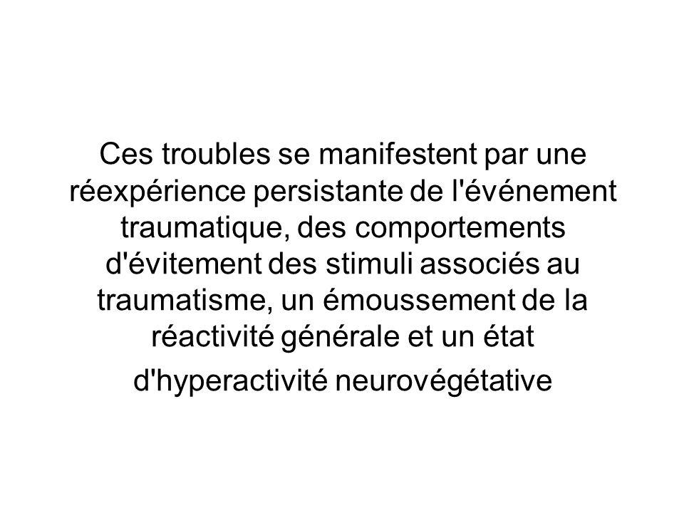 Ces troubles se manifestent par une réexpérience persistante de l'événement traumatique, des comportements d'évitement des stimuli associés au traumat
