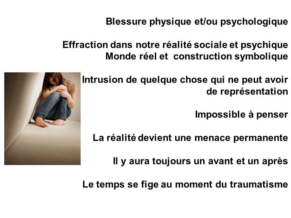 Blessure physique et/ou psychologique Effraction dans notre réalité sociale et psychique Monde réel et construction symbolique Intrusion de quelque ch