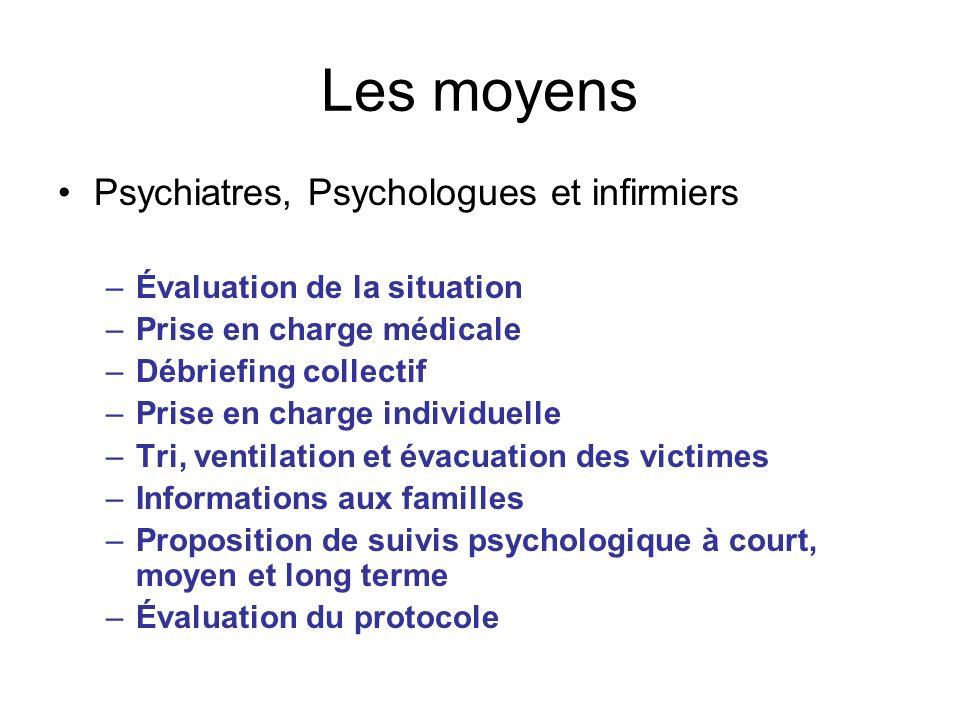 Les moyens Psychiatres, Psychologues et infirmiers –Évaluation de la situation –Prise en charge médicale –Débriefing collectif –Prise en charge indivi