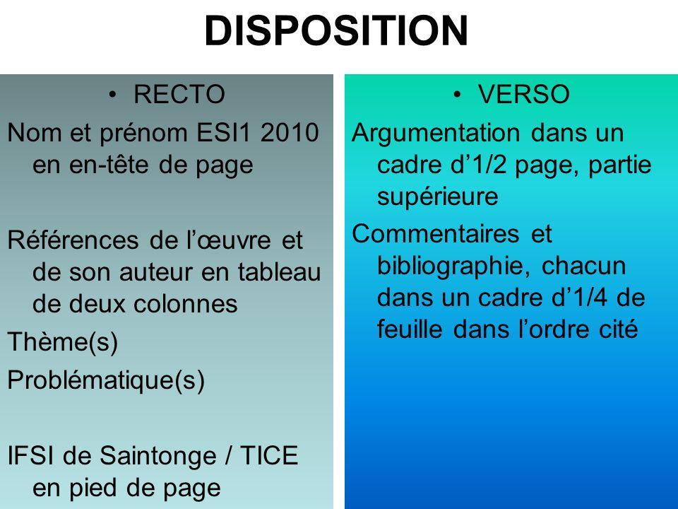 DISPOSITION RECTO Nom et prénom ESI1 2010 en en-tête de page Références de lœuvre et de son auteur en tableau de deux colonnes Thème(s) Problématique(