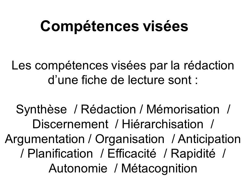 Les compétences visées par la rédaction dune fiche de lecture sont : Synthèse / Rédaction / Mémorisation / Discernement / Hiérarchisation / Argumentat