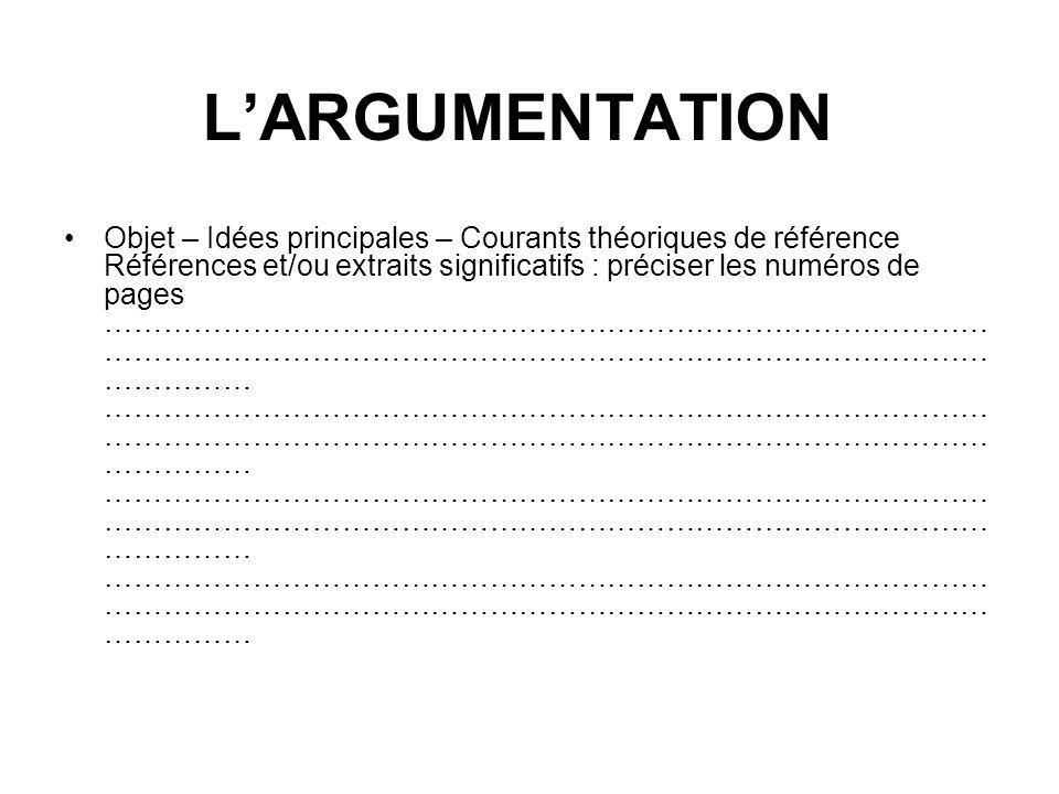 Objet – Idées principales – Courants théoriques de référence Références et/ou extraits significatifs : préciser les numéros de pages ……………………………………………