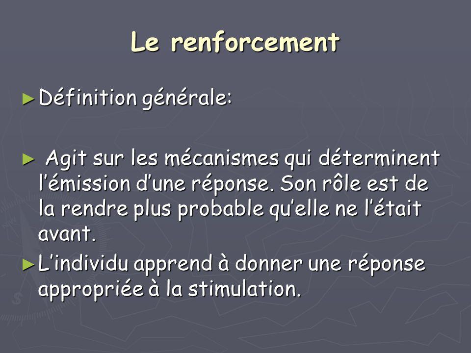 Le renforcement Définition générale: Définition générale: Agit sur les mécanismes qui déterminent lémission dune réponse. Son rôle est de la rendre pl