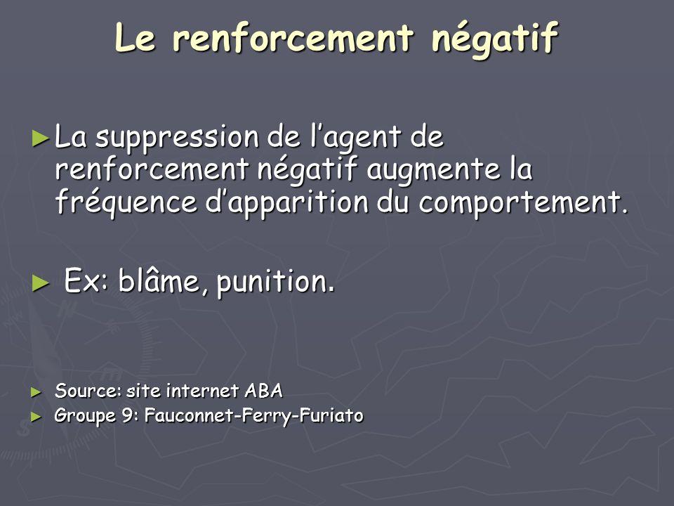 Le renforcement négatif La suppression de lagent de renforcement négatif augmente la fréquence dapparition du comportement. La suppression de lagent d