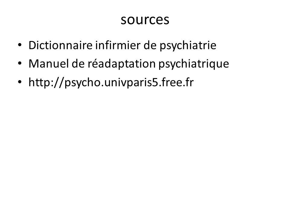 sources Dictionnaire infirmier de psychiatrie Manuel de réadaptation psychiatrique http://psycho.univparis5.free.fr