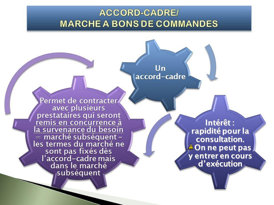 Unaccord-cadre Permet de contracter avec plusieurs prestataires qui seront remis en concurrence à la survenance du besoin = marché subséquent – les te