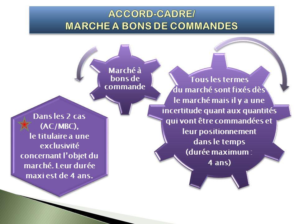 Dans les 2 cas (AC/MBC), le titulaire a une exclusivité concernant lobjet du marché. Leur durée maxi est de 4 ans. Dans les 2 cas (AC/MBC), le titulai