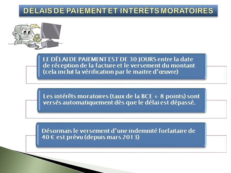 LE DÉLAI DE PAIEMENT EST DE 30 JOURS entre la date de réception de la facture et le versement du montant (cela inclut la vérification par le maitre dœuvre) Les intérêts moratoires (taux de la BCE + 8 points) sont versés automatiquement dès que le délai est dépassé.