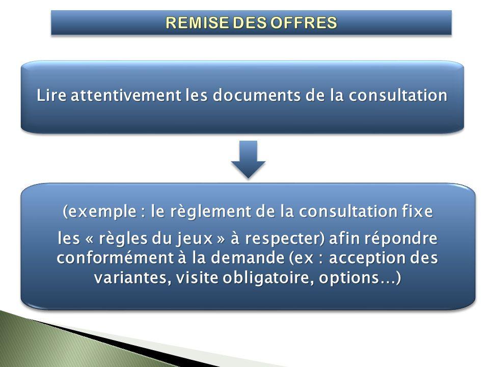Lire attentivement les documents de la consultation (exemple : le règlement de la consultation fixe les « règles du jeux » à respecter) afin répondre
