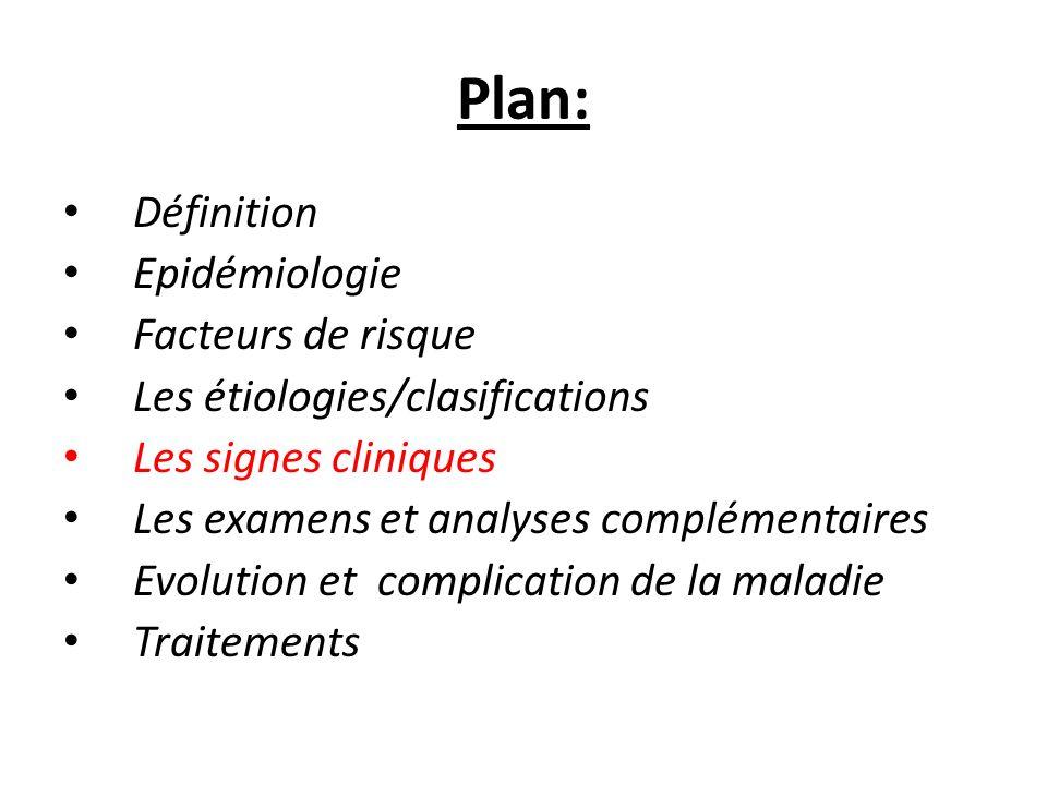 Plan: Définition Epidémiologie Facteurs de risque Les étiologies/clasifications Les signes cliniques Les examens et analyses complémentaires Evolution