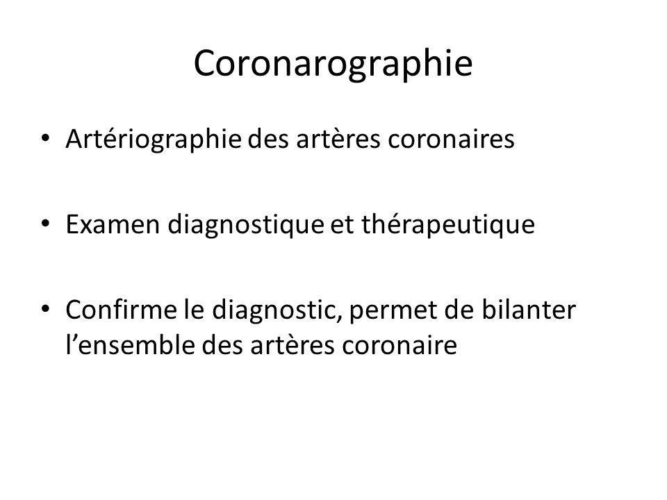 Coronarographie Artériographie des artères coronaires Examen diagnostique et thérapeutique Confirme le diagnostic, permet de bilanter lensemble des ar