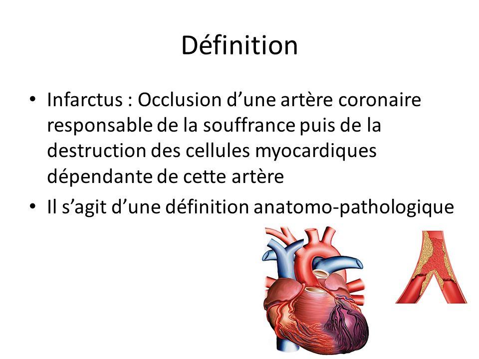 Définition Infarctus : Occlusion dune artère coronaire responsable de la souffrance puis de la destruction des cellules myocardiques dépendante de cet