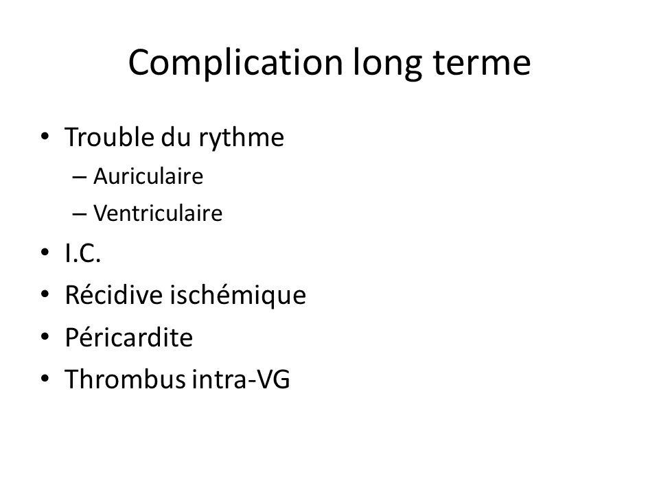 Complication long terme Trouble du rythme – Auriculaire – Ventriculaire I.C. Récidive ischémique Péricardite Thrombus intra-VG