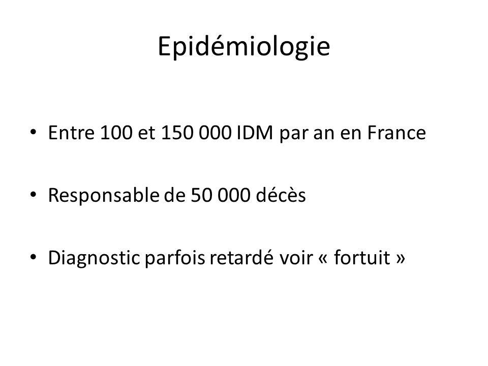 Epidémiologie Entre 100 et 150 000 IDM par an en France Responsable de 50 000 décès Diagnostic parfois retardé voir « fortuit »