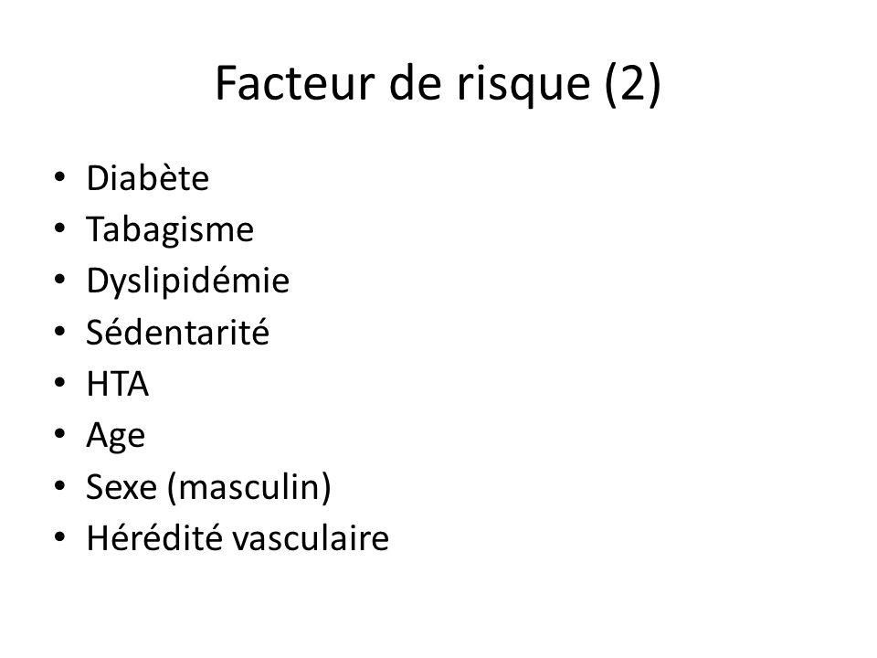 Facteur de risque (2) Diabète Tabagisme Dyslipidémie Sédentarité HTA Age Sexe (masculin) Hérédité vasculaire