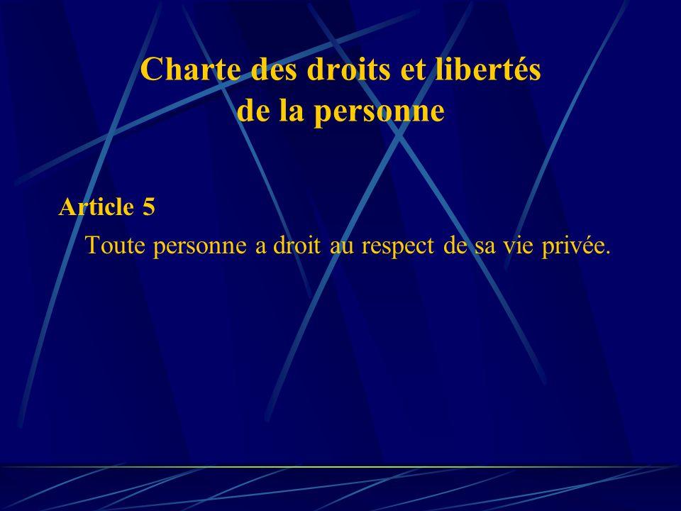 Charte des droits et libertés de la personne Article 5 Toute personne a droit au respect de sa vie privée.