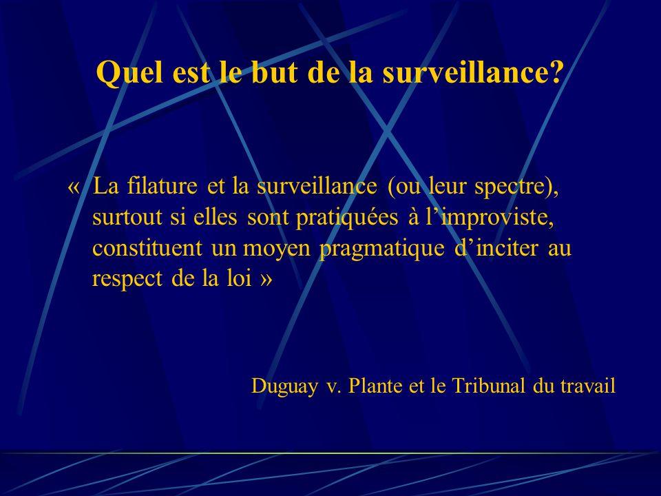Quel est le but de la surveillance? « La filature et la surveillance (ou leur spectre), surtout si elles sont pratiquées à limproviste, constituent un