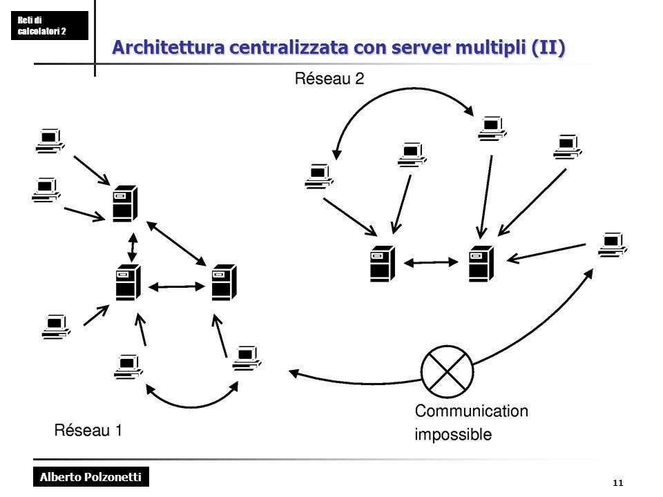Alberto Polzonetti Reti di calcolatori 2 11 Architettura centralizzata con server multipli (II)