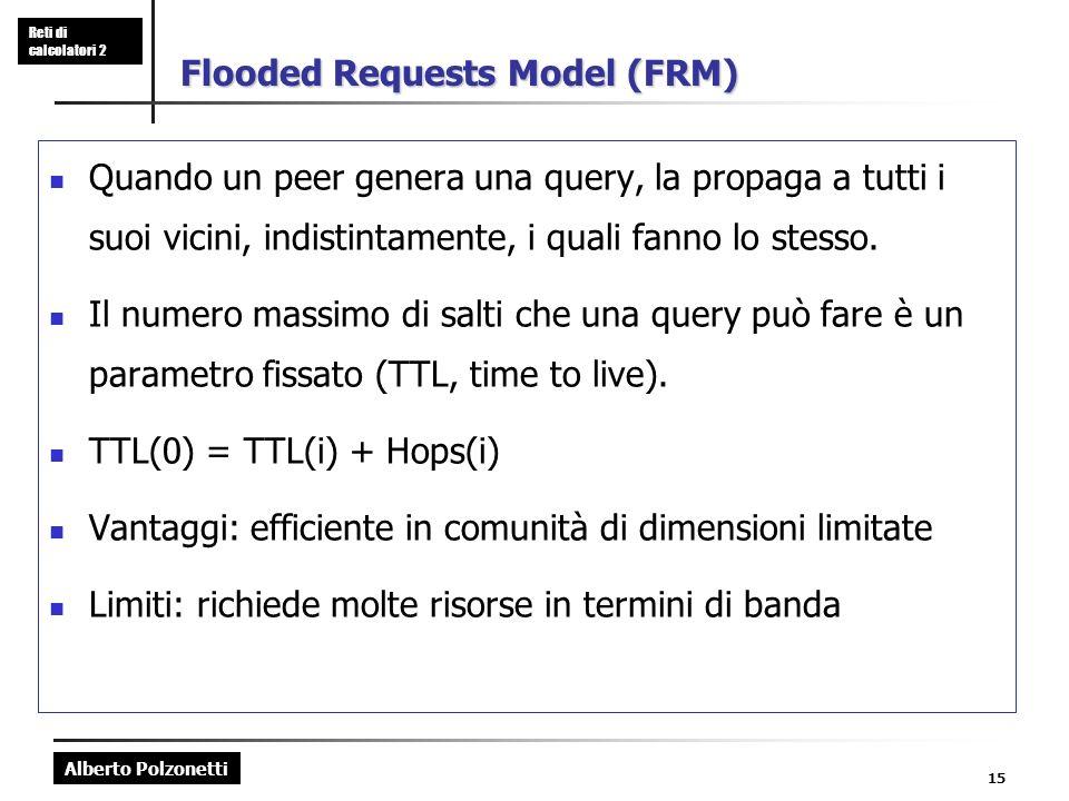 Alberto Polzonetti Reti di calcolatori 2 15 Flooded Requests Model (FRM) Quando un peer genera una query, la propaga a tutti i suoi vicini, indistintamente, i quali fanno lo stesso.