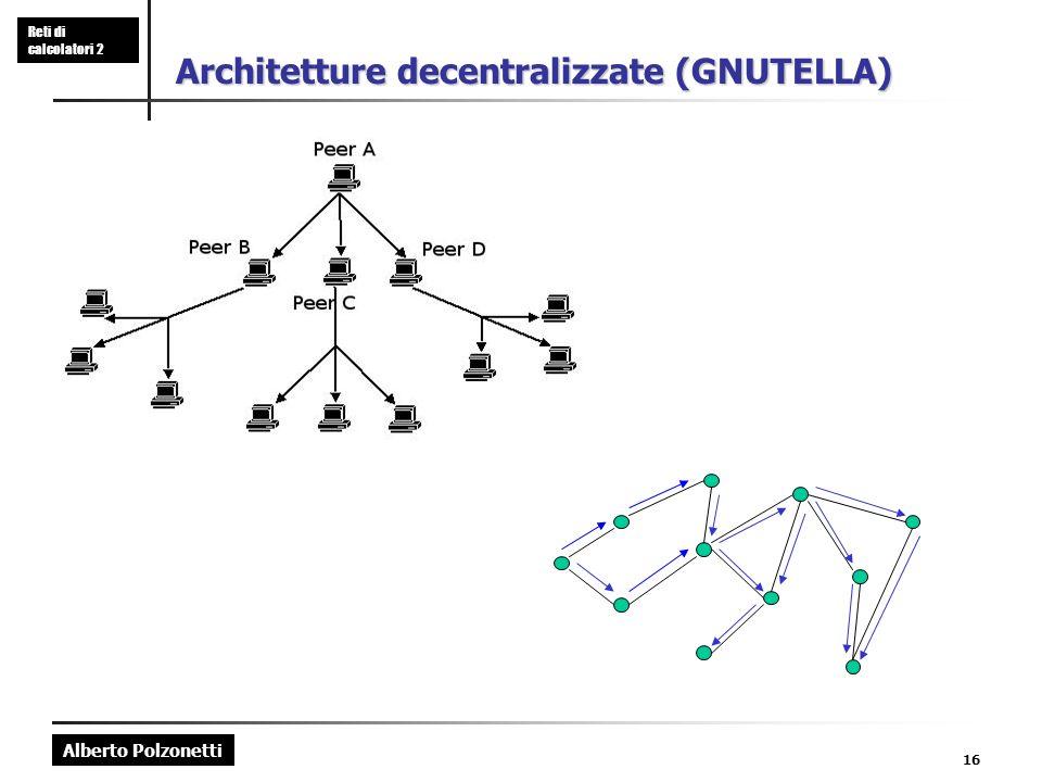 Alberto Polzonetti Reti di calcolatori 2 16 Architetture decentralizzate (GNUTELLA)