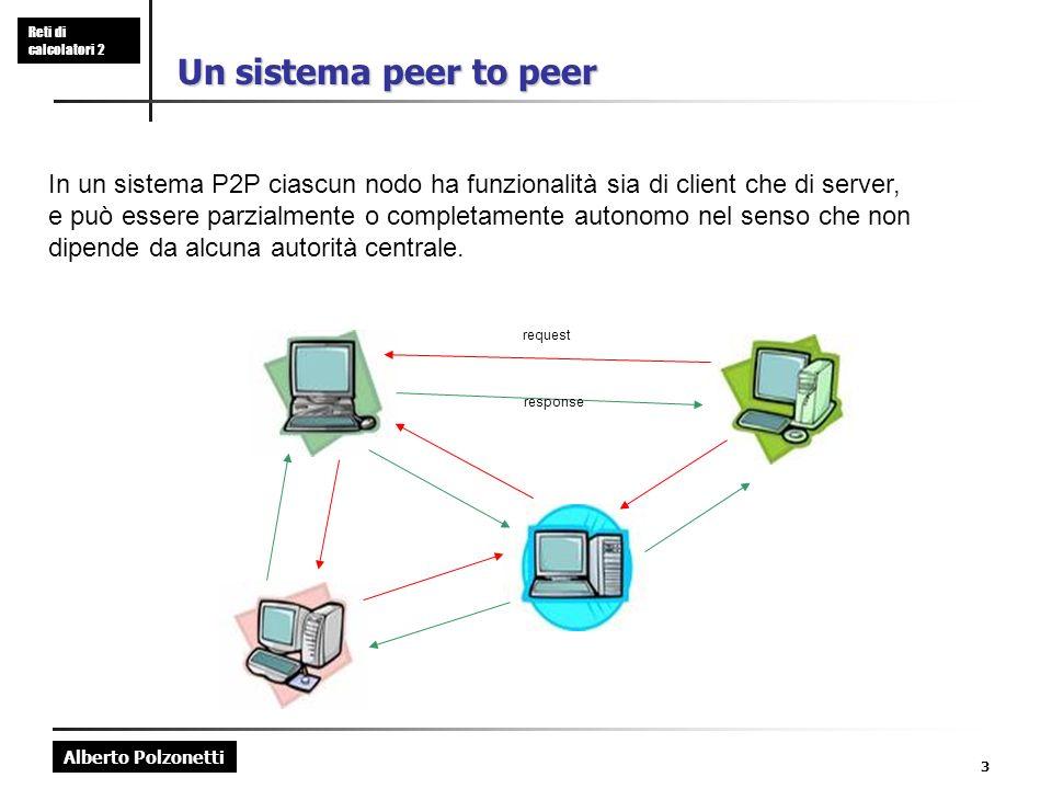 Alberto Polzonetti Reti di calcolatori 2 3 Un sistema peer to peer In un sistema P2P ciascun nodo ha funzionalità sia di client che di server, e può essere parzialmente o completamente autonomo nel senso che non dipende da alcuna autorità centrale.