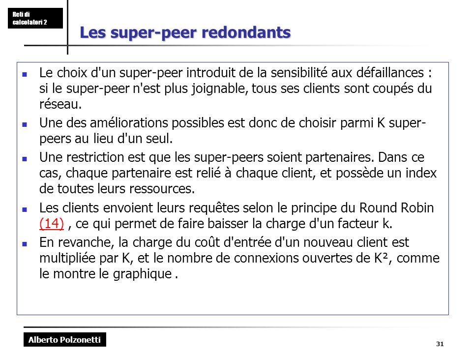 Alberto Polzonetti Reti di calcolatori 2 31 Les super-peer redondants Le choix d un super-peer introduit de la sensibilité aux défaillances : si le super-peer n est plus joignable, tous ses clients sont coupés du réseau.