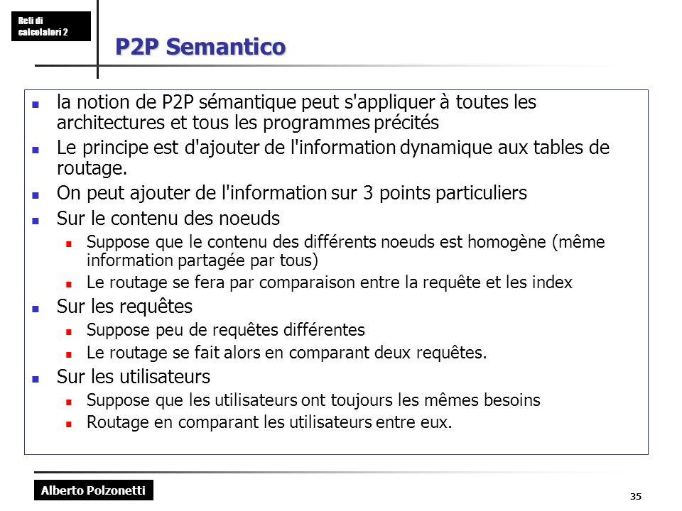 Alberto Polzonetti Reti di calcolatori 2 35 P2P Semantico la notion de P2P sémantique peut s appliquer à toutes les architectures et tous les programmes précités Le principe est d ajouter de l information dynamique aux tables de routage.
