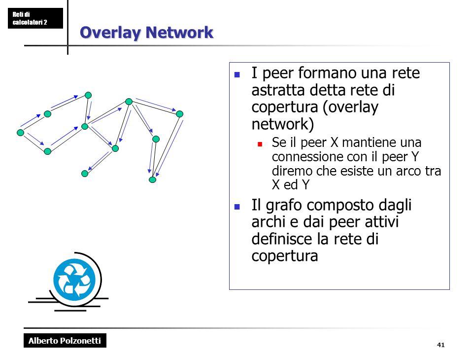 Alberto Polzonetti Reti di calcolatori 2 41 Overlay Network I peer formano una rete astratta detta rete di copertura (overlay network) Se il peer X mantiene una connessione con il peer Y diremo che esiste un arco tra X ed Y Il grafo composto dagli archi e dai peer attivi definisce la rete di copertura