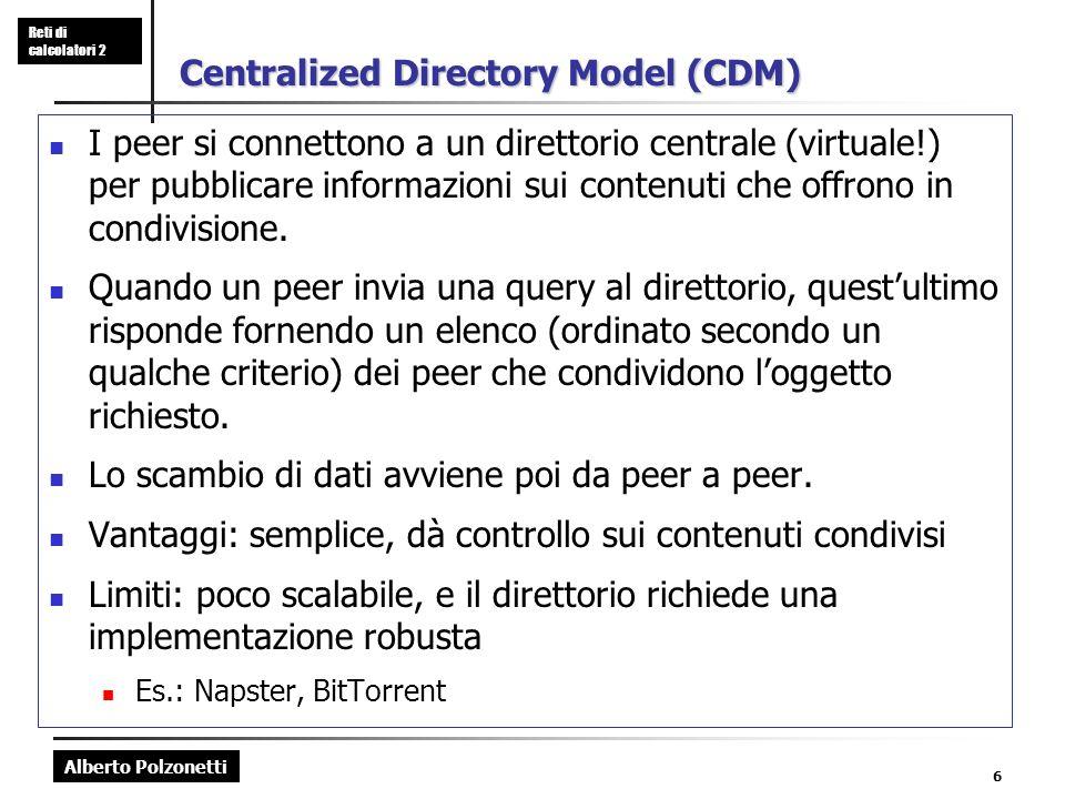 Alberto Polzonetti Reti di calcolatori 2 6 Centralized Directory Model (CDM) I peer si connettono a un direttorio centrale (virtuale!) per pubblicare informazioni sui contenuti che offrono in condivisione.