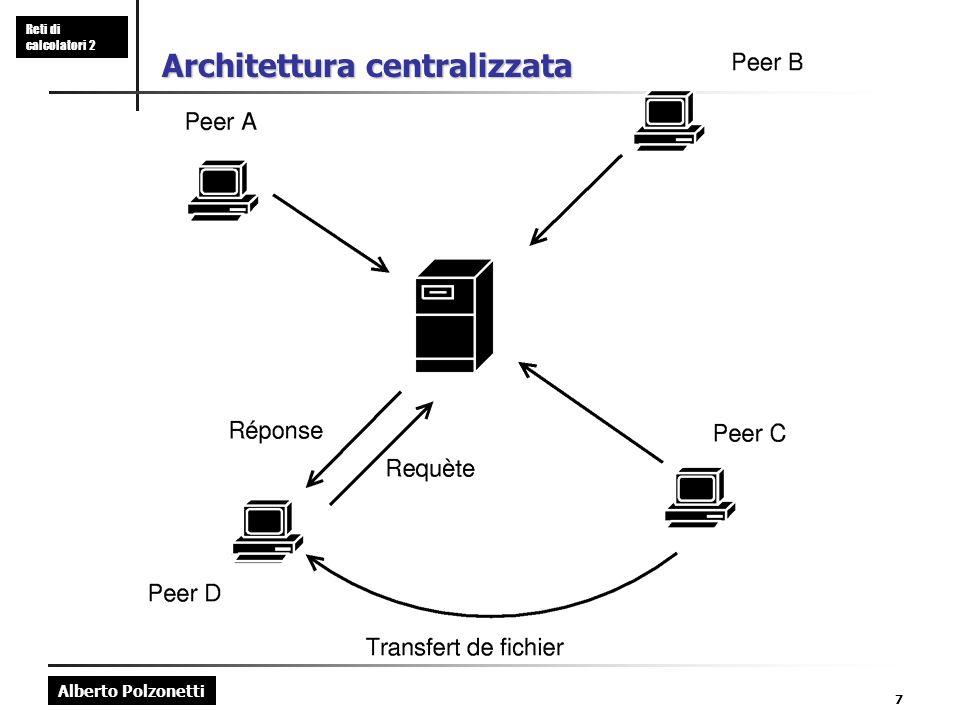 Alberto Polzonetti Reti di calcolatori 2 7 Architettura centralizzata