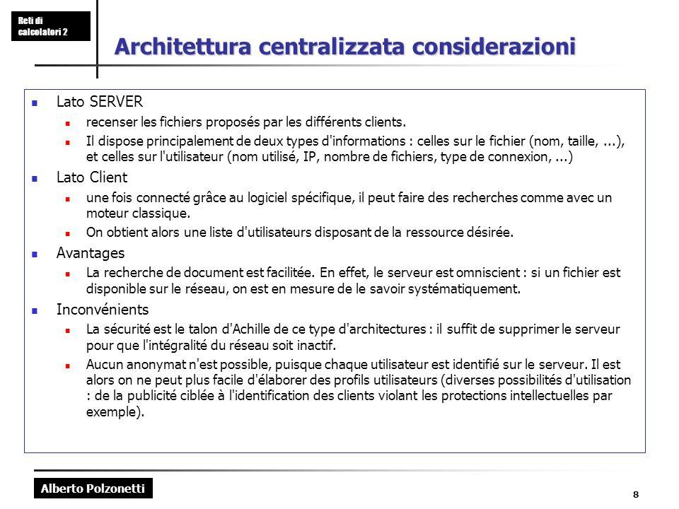 Alberto Polzonetti Reti di calcolatori 2 8 Architettura centralizzata considerazioni Lato SERVER recenser les fichiers proposés par les différents clients.