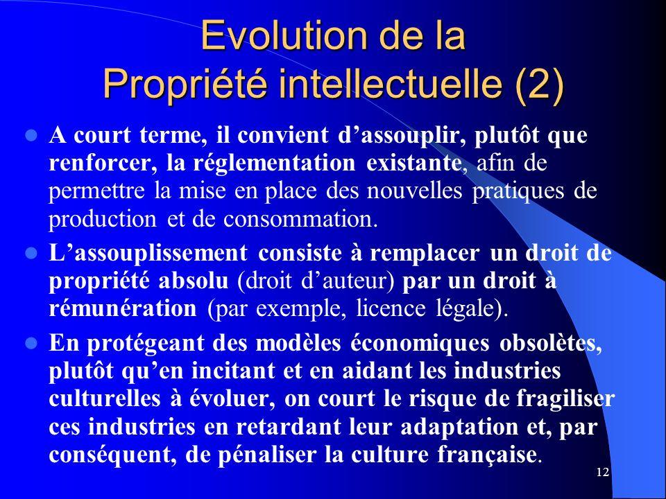 12 Evolution de la Propriété intellectuelle (2) A court terme, il convient dassouplir, plutôt que renforcer, la réglementation existante, afin de permettre la mise en place des nouvelles pratiques de production et de consommation.