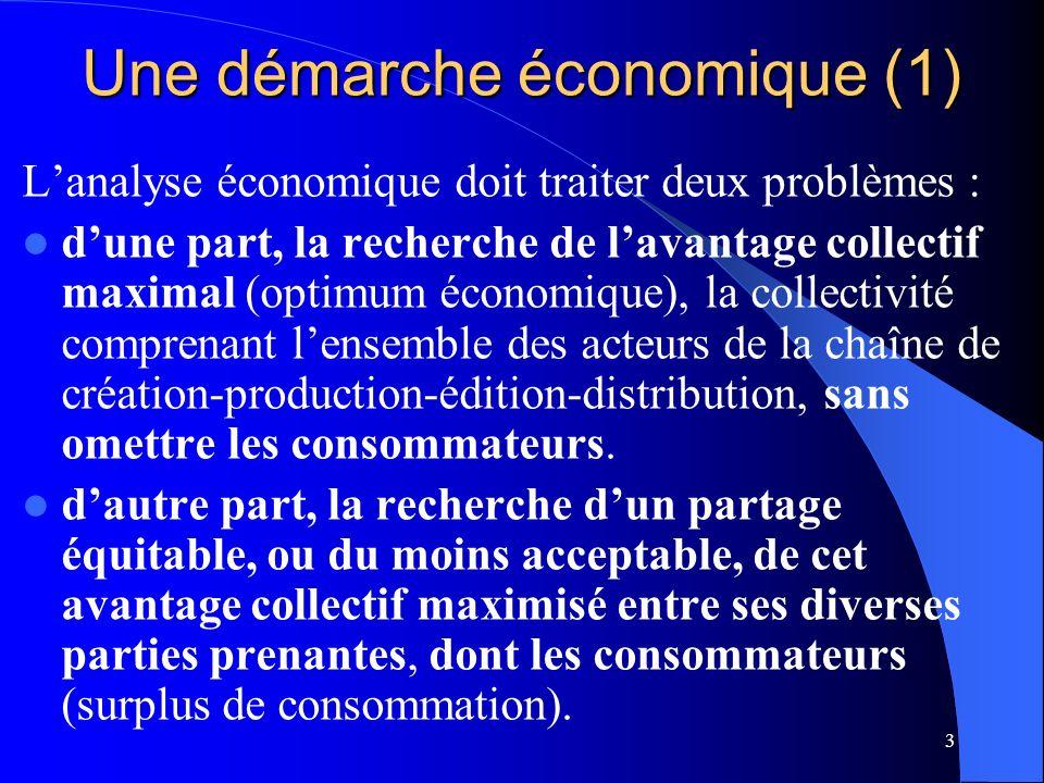 3 Une démarche économique (1) Lanalyse économique doit traiter deux problèmes : dune part, la recherche de lavantage collectif maximal (optimum économique), la collectivité comprenant lensemble des acteurs de la chaîne de création-production-édition-distribution, sans omettre les consommateurs.