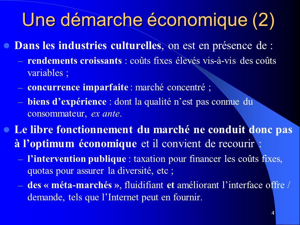 4 Une démarche économique (2) Dans les industries culturelles, on est en présence de : – rendements croissants : coûts fixes élevés vis-à-vis des coûts variables ; – concurrence imparfaite : marché concentré ; – biens dexpérience : dont la qualité nest pas connue du consommateur, ex ante.