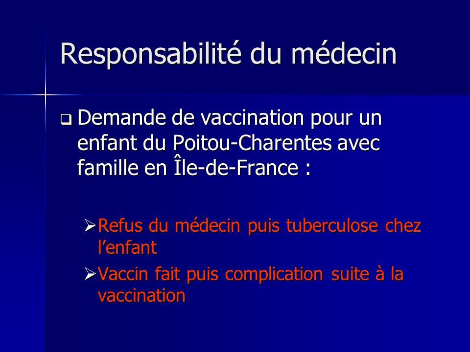 Responsabilité du médecin Demande de vaccination pour un enfant du Poitou-Charentes avec famille en Île-de-France : Demande de vaccination pour un enf