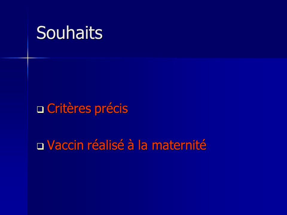 Souhaits Critères précis Critères précis Vaccin réalisé à la maternité Vaccin réalisé à la maternité