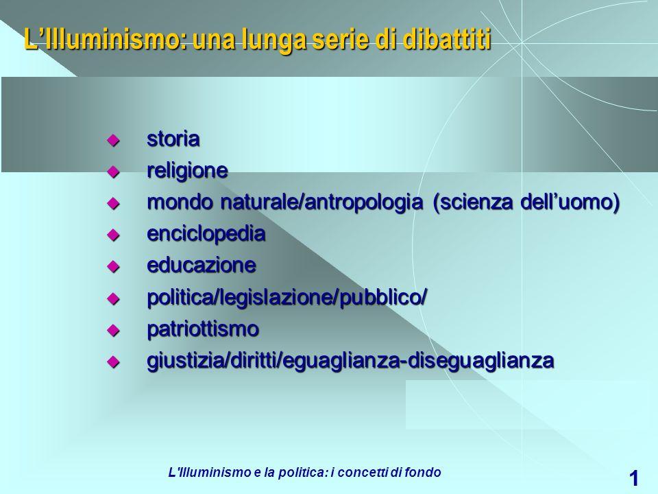 L'Illuminismo e la politica: i concetti di fondo 1 LIlluminismo: una lunga serie di dibattiti storia storia religione religione mondo naturale/antropo