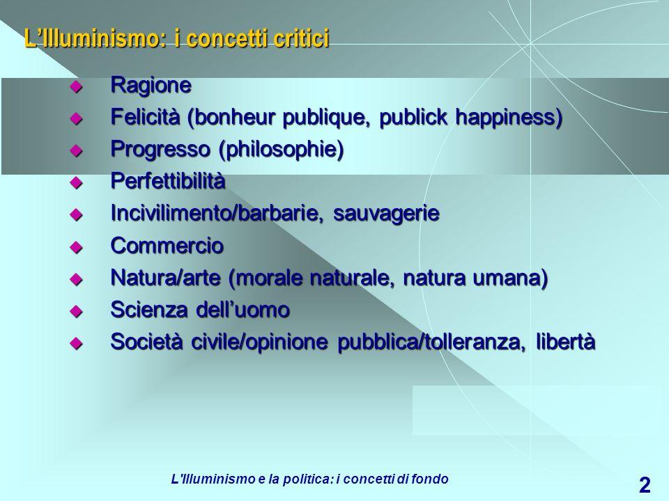 L'Illuminismo e la politica: i concetti di fondo 2 LIlluminismo: i concetti critici Ragione Ragione Felicità (bonheur publique, publick happiness) Fel