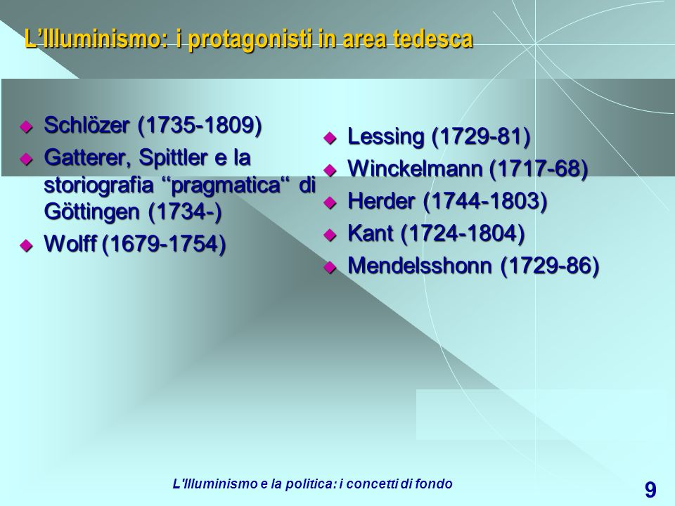 L Illuminismo e la politica: i concetti di fondo 9 LIlluminismo: i protagonisti in area tedesca Schlözer (1735-1809) Schlözer (1735-1809) Gatterer, Spittler e la storiografia pragmatica di Göttingen (1734-) Gatterer, Spittler e la storiografia pragmatica di Göttingen (1734-) Wolff (1679-1754) Wolff (1679-1754) Lessing (1729-81) Lessing (1729-81) Winckelmann (1717-68) Winckelmann (1717-68) Herder (1744-1803) Herder (1744-1803) Kant (1724-1804) Kant (1724-1804) Mendelsshonn (1729-86) Mendelsshonn (1729-86)