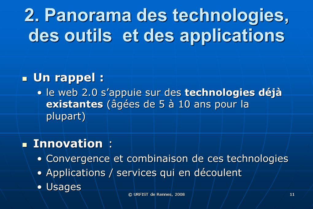© URFIST de Rennes, 2008 11 2. Panorama des technologies, des outils et des applications Un rappel : Un rappel : le web 2.0 sappuie sur des technologi