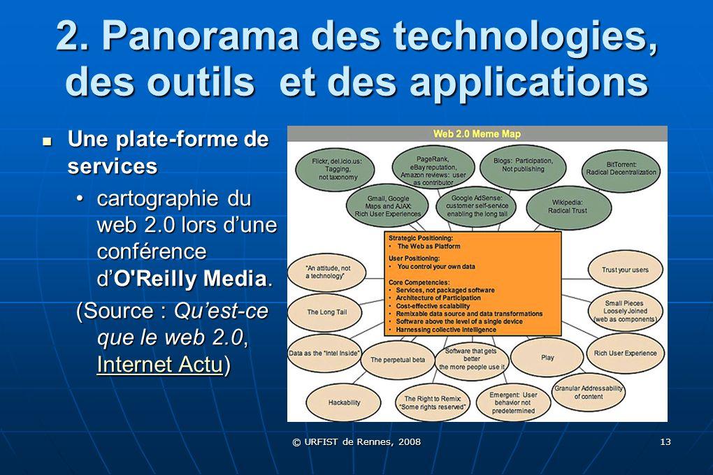 © URFIST de Rennes, 2008 13 2. Panorama des technologies, des outils et des applications Une plate-forme de services Une plate-forme de services carto