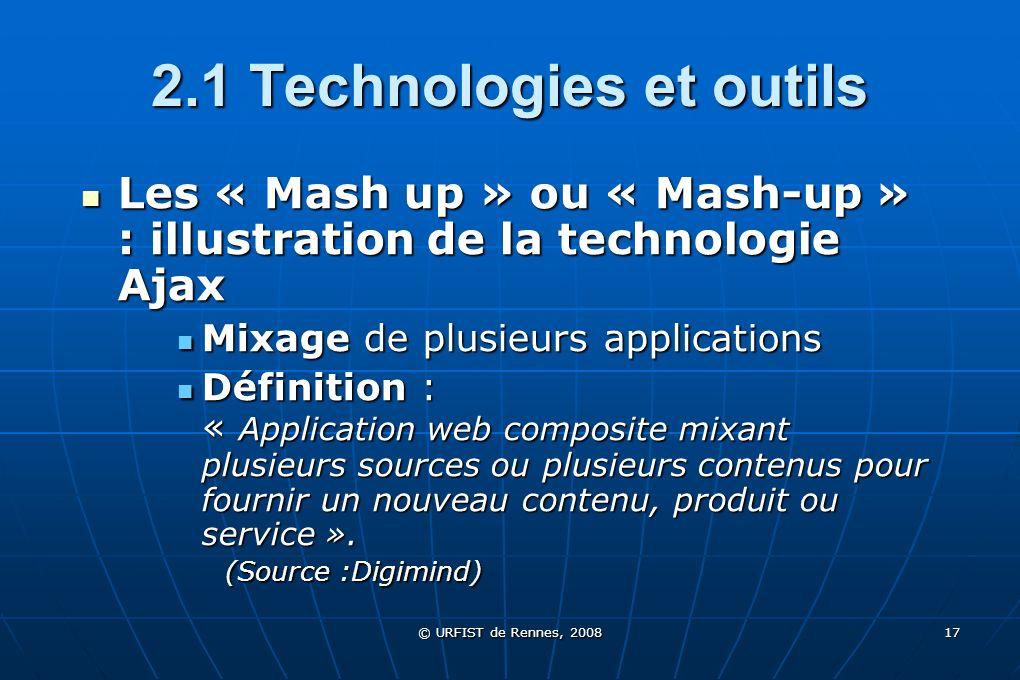 © URFIST de Rennes, 2008 17 2.1 Technologies et outils Les « Mash up » ou « Mash-up » : illustration de la technologie Ajax Mixage de plusieurs applic