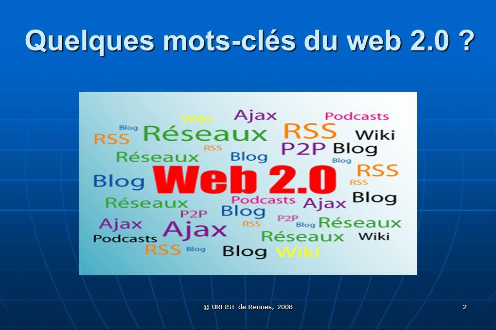 © URFIST de Rennes, 2008 53 4/ Les tags Un tag = Un tag = Mot-clé, sous forme d étiquetteMot-clé, sous forme d étiquette Au fondement de l indexation libre, des « folksonomies »Au fondement de l indexation libre, des « folksonomies » Apposé sur un document numériqueApposé sur un document numérique Deux types de tags : Deux types de tags : Mots-clés libres, mis par les utilisateurs, les administrateurs d un site :Mots-clés libres, mis par les utilisateurs, les administrateurs d un site : Exemple : Bibliothécaire Exemple : BibliothécaireBibliothécaire Produits par une indexation automatique :Produits par une indexation automatique : Recherche d occurrences et mise en évidence des mots-clés Recherche d occurrences et mise en évidence des mots-clés