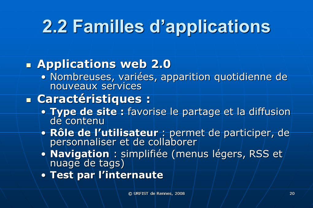 © URFIST de Rennes, 2008 20 2.2 Familles dapplications Applications web 2.0 Applications web 2.0 Nombreuses, variées, apparition quotidienne de nouvea