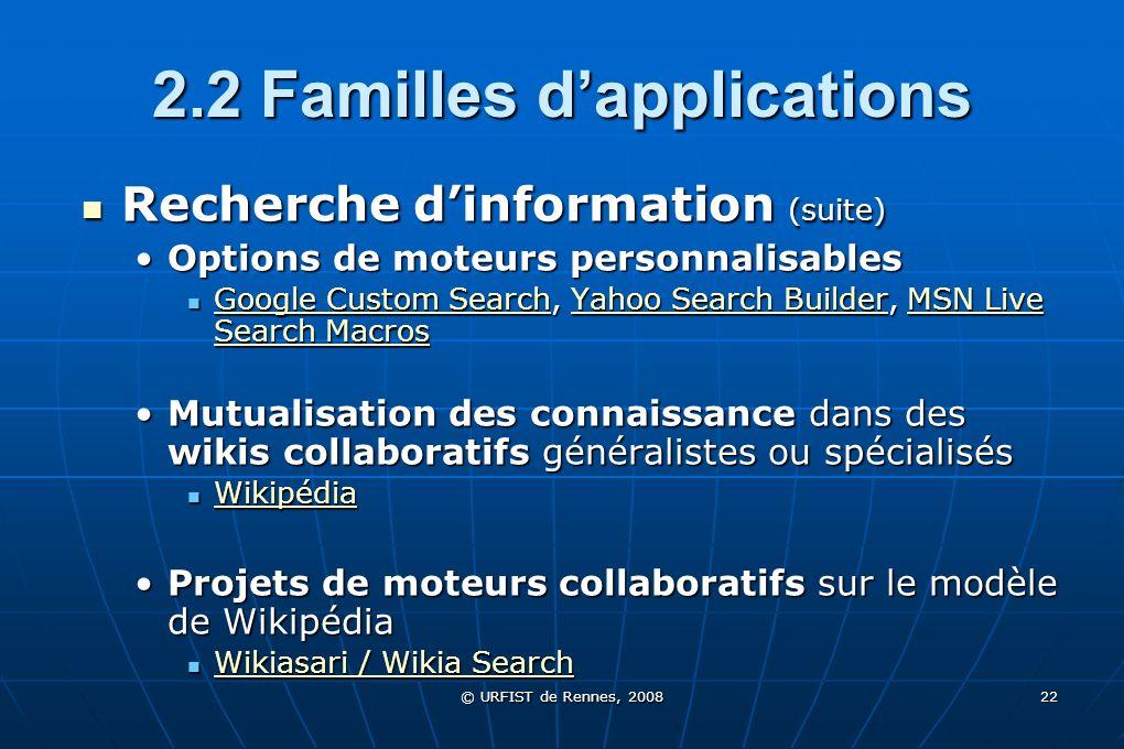 © URFIST de Rennes, 2008 22 2.2 Familles dapplications Recherche dinformation (suite) Recherche dinformation (suite) Options de moteurs personnalisabl