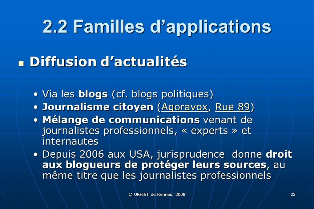 © URFIST de Rennes, 2008 23 2.2 Familles dapplications Diffusion dactualités Diffusion dactualités Via les blogs (cf. blogs politiques)Via les blogs (
